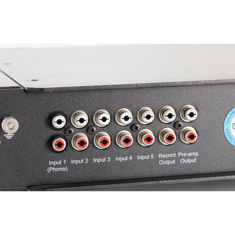 Zoom detalle conexiones amplificador Rega ELEX-R